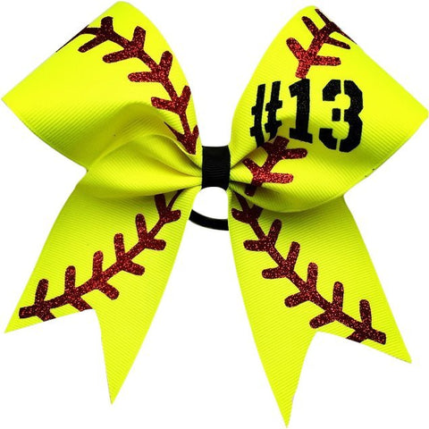 "Softball bow with your number. approximately 6""by6"". made with 2.25 grosgrain ribbon and glitter - BRAGABIT"