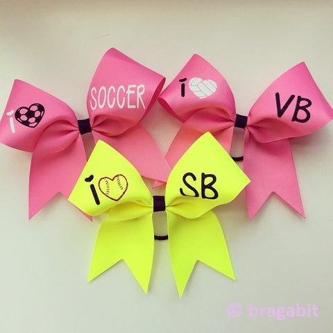 I love softball, i love volleyball, i love soccer ribbon bow with glitter designs - BRAGABIT