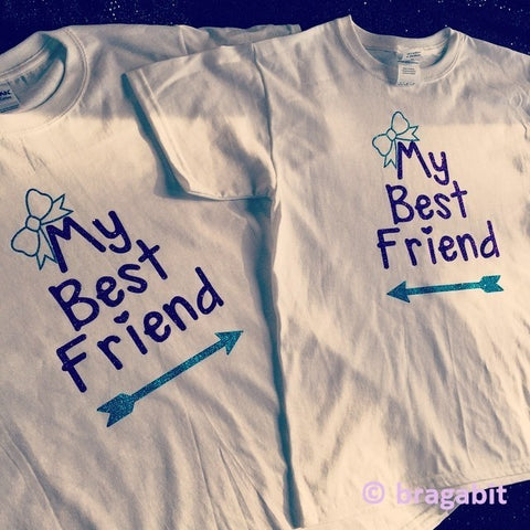 Best friends t-shirts. You choose 2 glitter colors - BRAGABIT