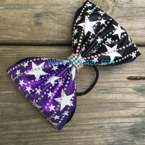 Two Color Bow With Rhinestones And Stars