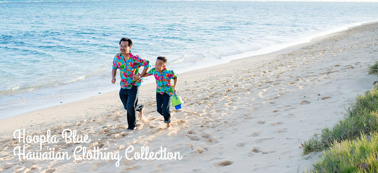 Hoopla Blue - Matching Hawaiian Shirts & Dresses Collection