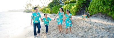 Matching Hawaiian clothing
