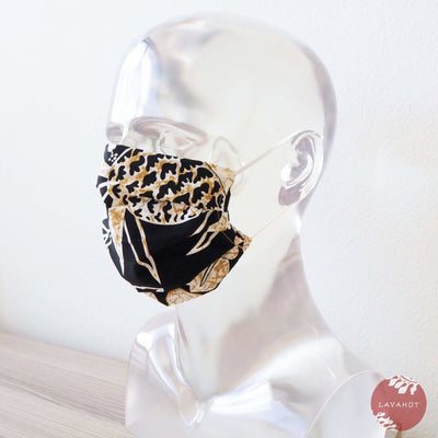 Hawaiian Adult Face Mask • Black Sweet Pineapple Accordion - Black - Face Mask