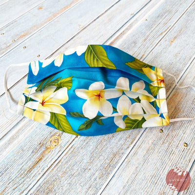 Accordion + Filter Pocket • Blue Plumeria Garden - Blue - Face Mask