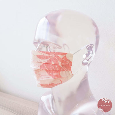 Hawaiian Adult Face Mask • Coral Haven Accordion - Coral - Face Mask