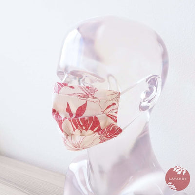 Hawaiian Adult Face Mask • Red Orchid Accordion - Red - Face Mask