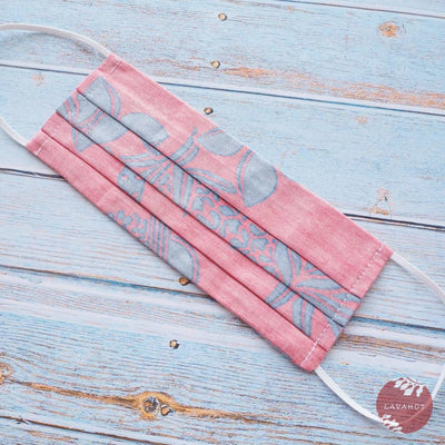 Hawaiian Adult Face Mask • Red Ukulele Accordion - Red - Face Mask