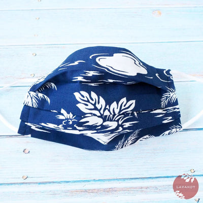 Accordion + Pocket + Adjustable Loops • Navy Island - Navy - Face Mask