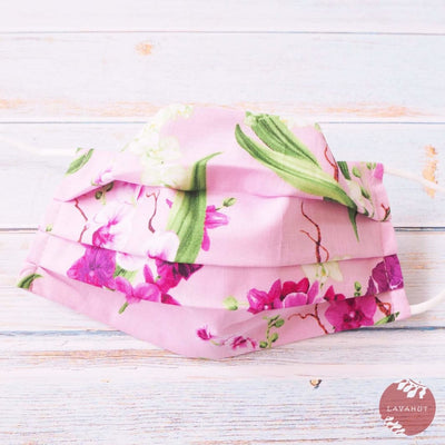 Accordion + Pocket + Adjustable Loops • Pink Orchid Bouquet - Pink - Face Mask