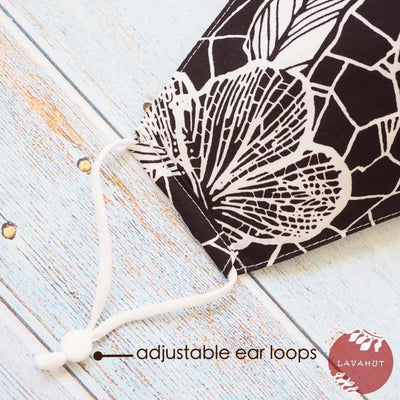 Adjustable Fashion Face Mask • Black Waialua - Black - Face Mask