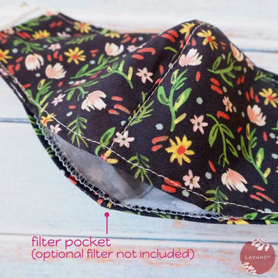 Adjustable + Filter Pocket • Black Ditsy Floral - Black - Face Mask