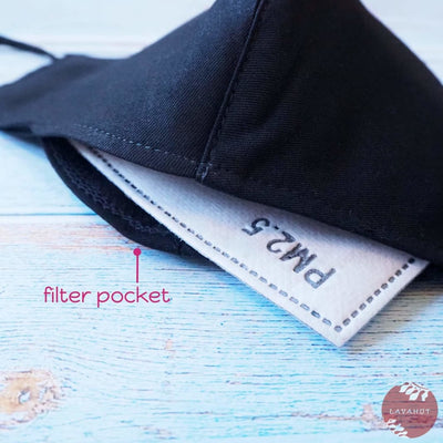 Adjustable + Filter Pocket • Black Ninja - Black - Face Mask