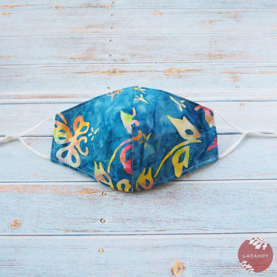 Adjustable + Filter Pocket • Blue Butterfly - Blue - Face Mask