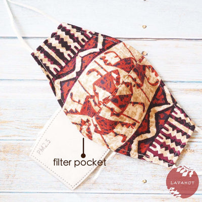 Adjustable + Filter Pocket • Brown Ancient Times - Brown - Face Mask