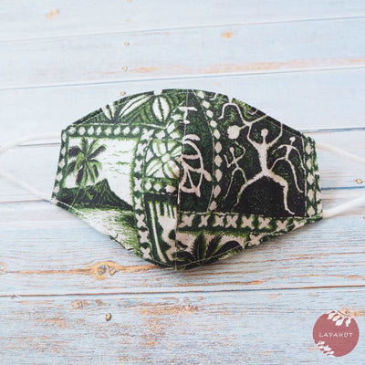 Adjustable + Filter Pocket • Green Petroglyphs - Green - Face Mask
