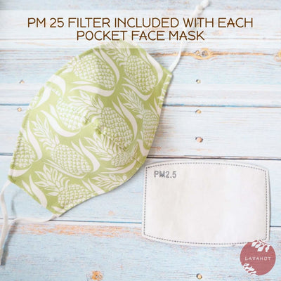 Adjustable + Filter Pocket • Green Royal Pineapple - Green - Face Mask