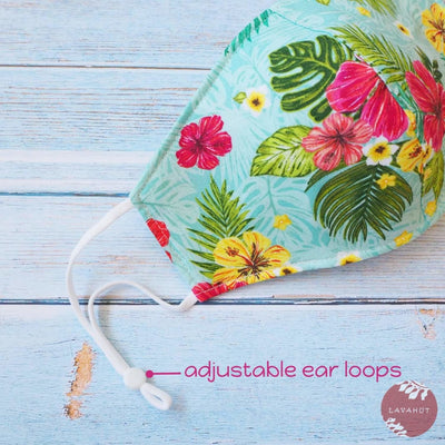 Adjustable + Filter Pocket • Green Tropics - Green - Face Mask