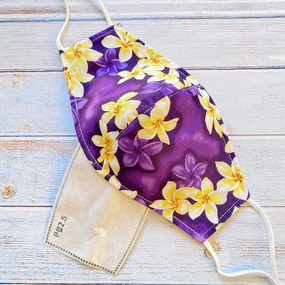Adjustable + Filter Pocket • Purple Plumeria Magic - Purple - Face Mask