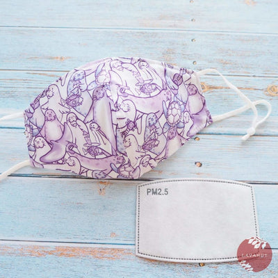 Adjustable + Filter Pocket • Purple Seal Party - Purple - Face Mask
