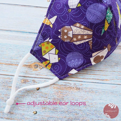 Adjustable + Filter Pocket • Purple Zodiac Origami Animals - Purple - Face Mask
