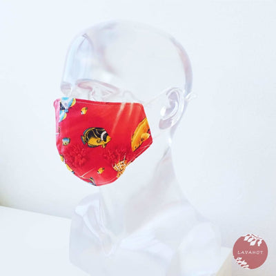 Adjustable + Filter Pocket • Red Sea Life - Red - Face Mask