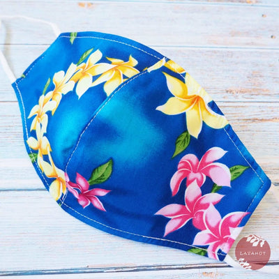 Adjustable + Filter Pocket • Royal Blue Lei of Aloha - Royal Blue - Face Mask