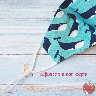 Adjustable + Filter Pocket • Teal Gentle Whales - Teal - Face Mask
