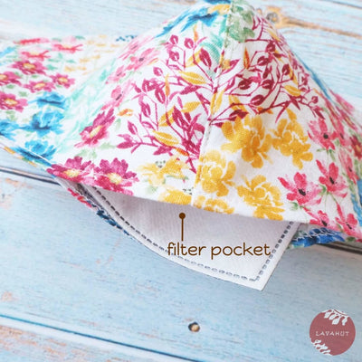 Adjustable + Filter Pocket • White Wildflowers - White - Face Mask