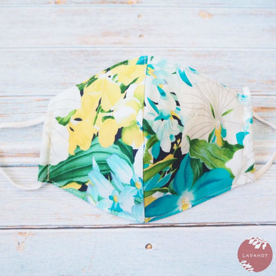 Adjustable Tropical Face Mask • Aqua Orchid Garden - Aqua - Face Mask