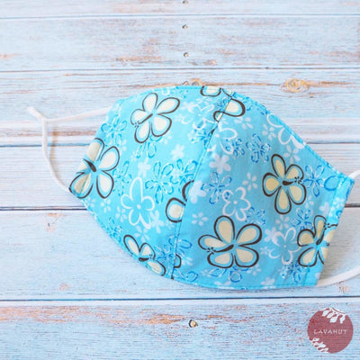 Adjustable Tropical Face Mask • Baby Blue Wildflower - Baby Blue - Face Mask