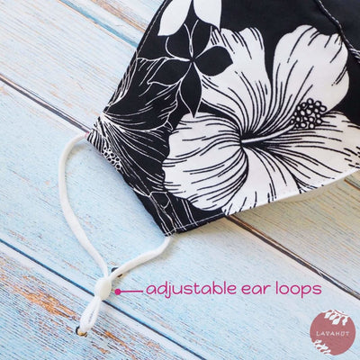 Adjustable Tropical Face Mask • Black Hibiscus Etch - Black - Face Mask