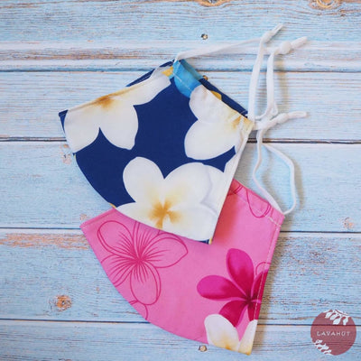 Adjustable Tropical Face Mask • Blue Dancing Plumeria - Blue - Face Mask