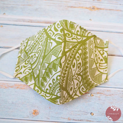 Adjustable Tropical Face Mask • Green Tribal - Green - Face Mask