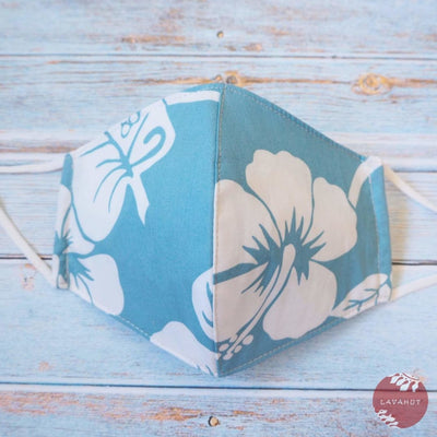 Adjustable Tropical Face Mask • Light Blue Hibiscus Fiesta - Light Blue - Face Mask