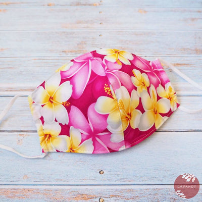 Adjustable Tropical Face Mask • Magenta Dancing Plumeria - Pink - Face Mask
