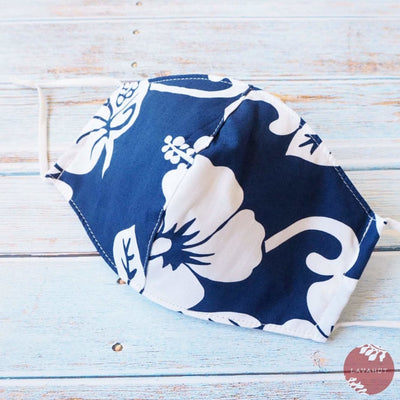 Adjustable Tropical Face Mask • Navy Blue Hibiscus Fiesta - Navy Blue - Face Mask
