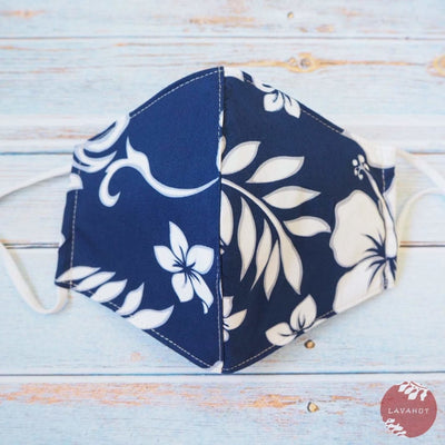 Adjustable Tropical Face Mask • Navy Blue Lauae Fern - Navy Blue - Face Mask