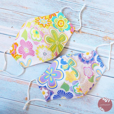 Adjustable Tropical Face Mask • Pink Daisy Pop - Pink - Face Mask