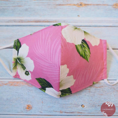 Adjustable Tropical Face Mask • Pink Hibiscus Dance - Pink - Face Mask