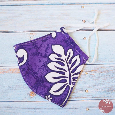 Adjustable Tropical Face Mask • Purple Lauae Fern - Purple - Face Mask