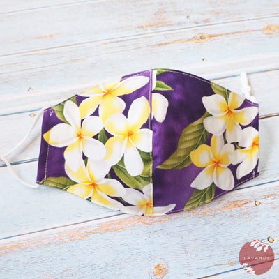 Adjustable Tropical Face Mask • Purple Plumeria Fun - Purple - Face Mask