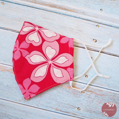 Adjustable Tropical Face Mask • Red Groovy Plumeria - Red - Face Mask