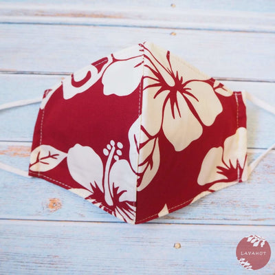 Adjustable Tropical Face Mask • Red Hibiscus Fiesta - Red - Face Mask