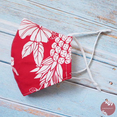 Adjustable Tropical Face Mask • Red Koloa - Red - Face Mask