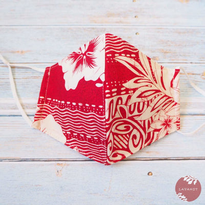Adjustable Tropical Face Mask • Red Lava - Red - Face Mask