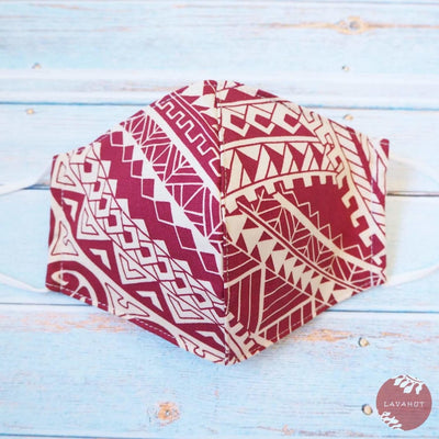 Adjustable Tropical Face Mask • Red Tribal - Red - Face Mask