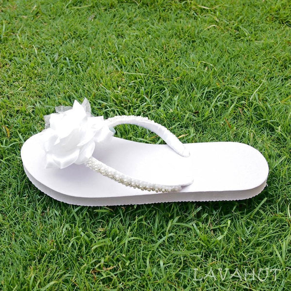 Allure Bridal Flip Flops In White - Hawaiian Sandals