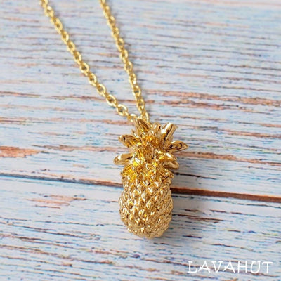 Aloha Pineapple Hawaiian Pendant Necklace - Gold - Necklaces