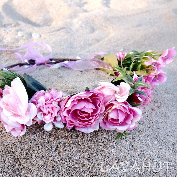 Angelic Pink Flower Crown - Hair Accessories