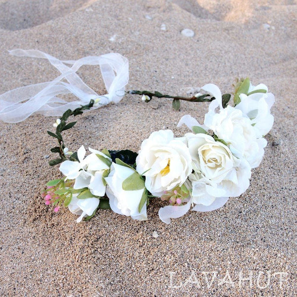 Angelic White Flower Crown - Hair Accessories